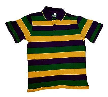 f902b4ac5fc Amazon.com: Adult 3X XXXL Mardi Gras Rugby Stripe Purple Green ...