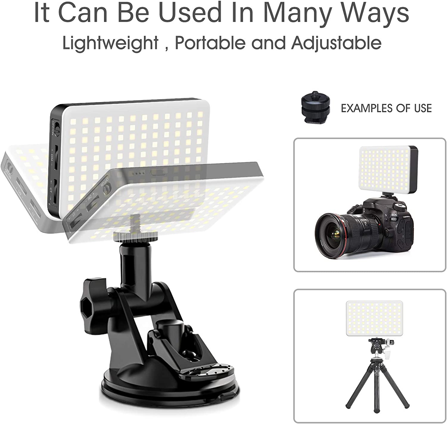Webcam Lighting Self Broadcasting and Live Streaming Rayfoto Video/Conferencing/Lighting for Laptop with Tripod and Suction Cup Lighting for Zoom with/Rechargeable/3100mAh/Battery,/Remote/Working