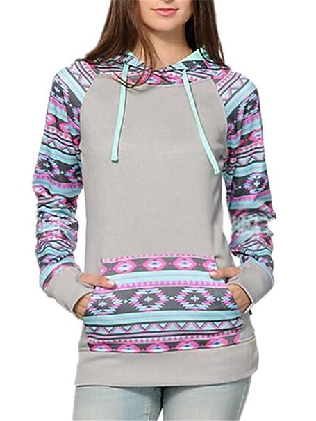 AILIENT Camiseta De Manga Larga De Las Mujeres Sudadera con Capucha Patchwork Tops Imprimir Sueter Jersey Casuales Outwear Jacket Bonitas Sudaderas Guapas: ...