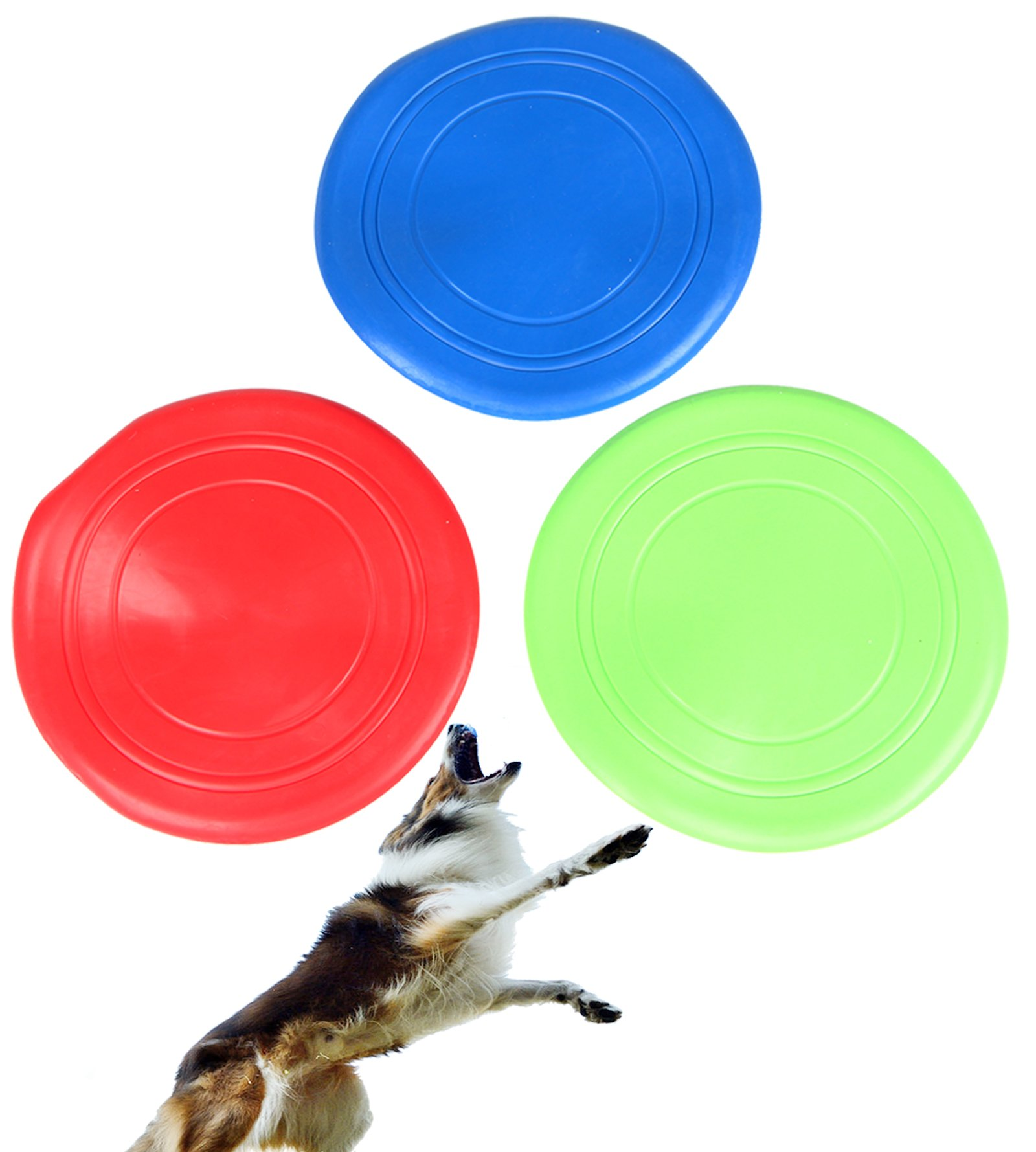 Pustor Dog Frisbee Disk Soft Silicone Flying Disc Pet Toy Training For Large, Pack of 3 Non-Toxic Silicone