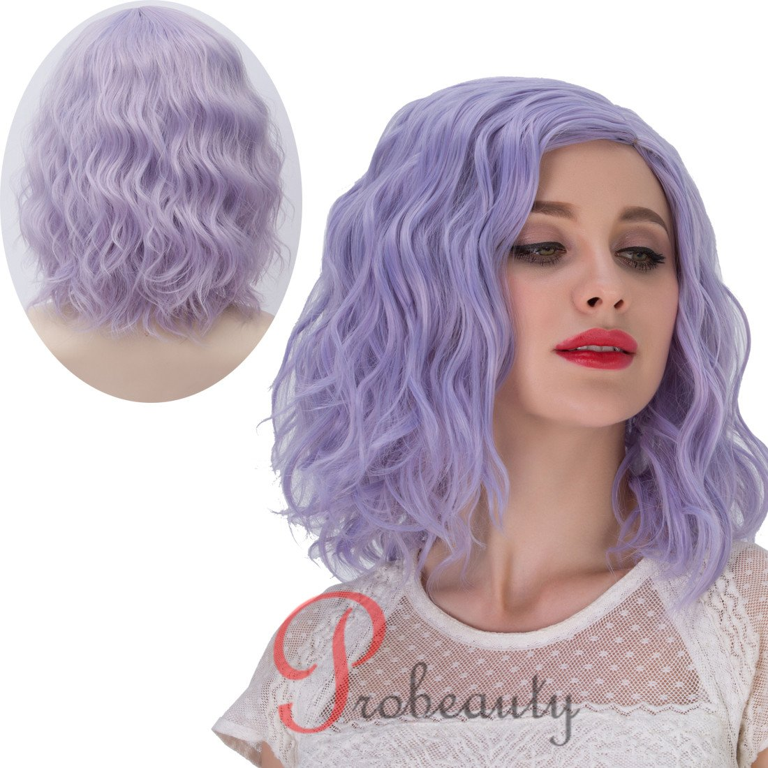 Amazon Pastel Gray Lavender Wig Beach Wave Hairstyle Party Wig