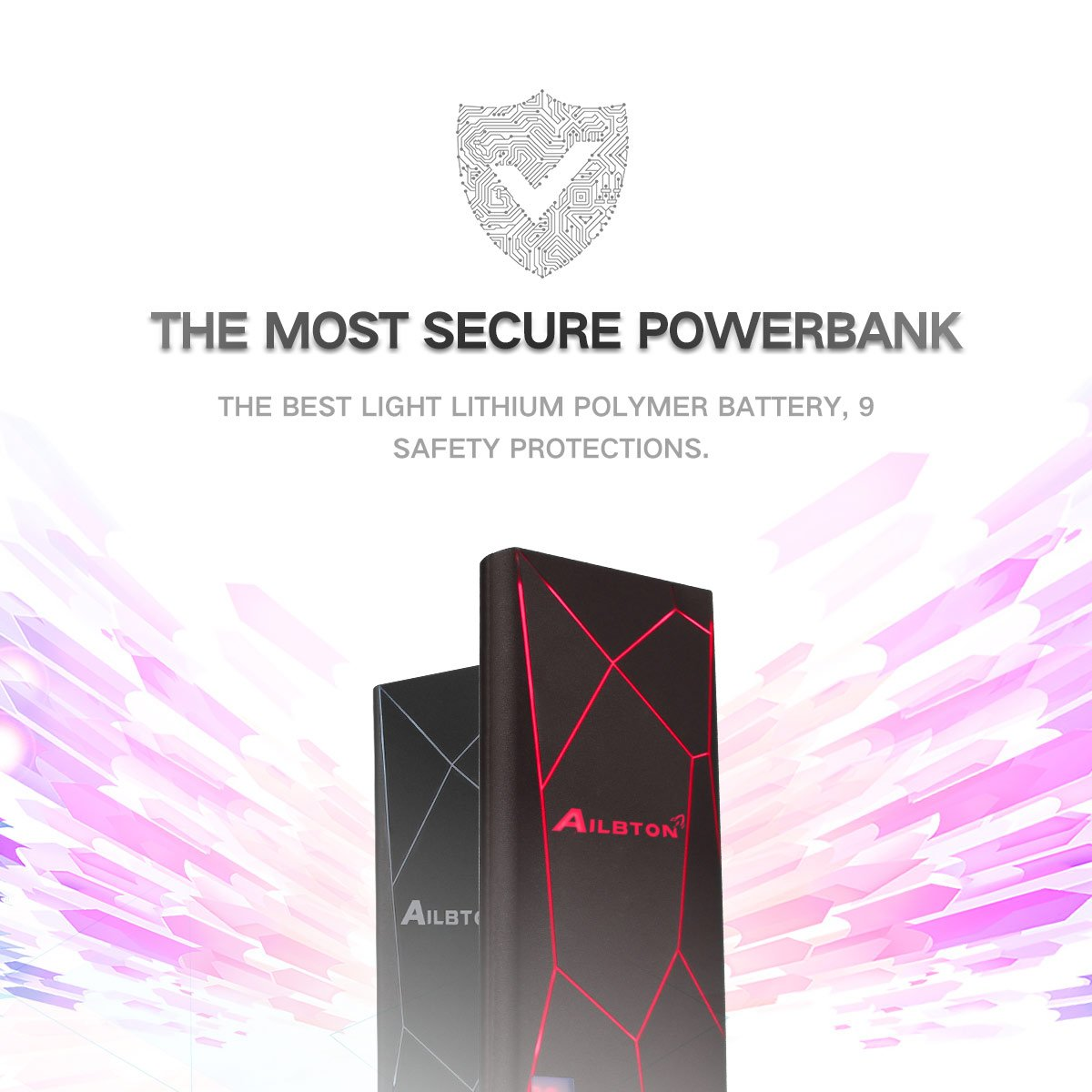 Portable Charger Ailbton Power Bank 8000mAh Capacity with Smart Digital Display Unique External Battery Pack with Cool Decor LED Color Light Fast Charging for iPhone Samsung Galaxy,Pads and More, Red