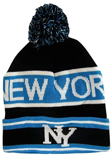 3d113ff1c0e6e New York City NY Men s 2-Tone Winter Knit Pom Beanie Hats (Black Teal) at  Amazon Men s Clothing store