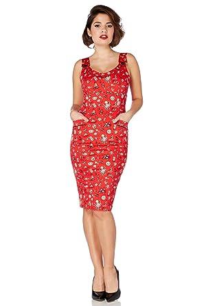 Voodoo Vixen Rockabilly Tattoo Nautical Pin Up 50s Red Pencil Dress