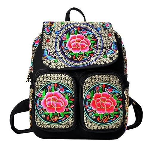 YAANCUN Mochilas Lona Mochila Escolar Mujer Bordado Etnico Mochila Del Estudiante Viaje Bolsa Backpack Casuales: Amazon.es: Zapatos y complementos