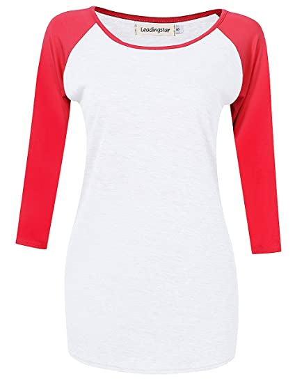 8f968bd0 Amazon.com: Leadingstar Womens Round Neck Shirt 3/4 Contrast Raglan Sleeve  Raglan T Shirt Tops (Asian S, White+Red): Clothing