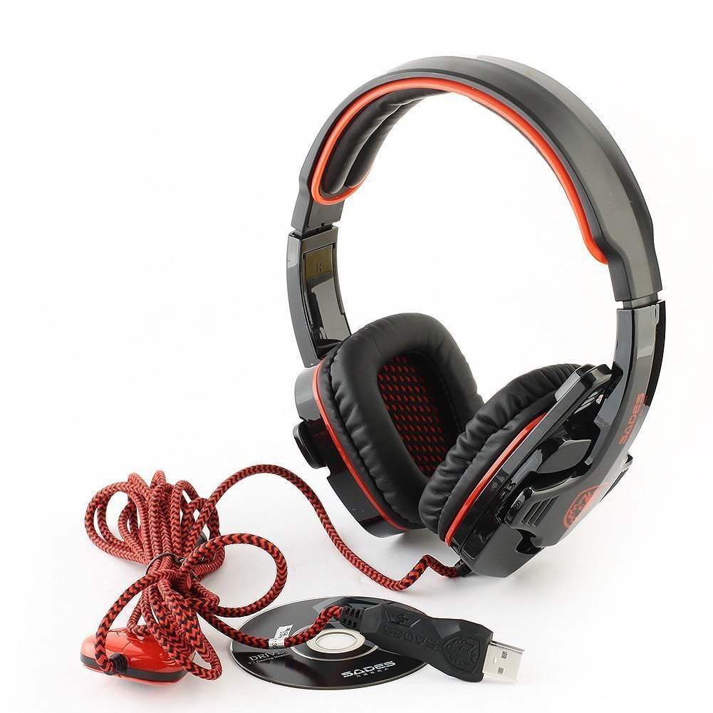 Sades Sa 901 Pc Gaming Headset W Microphone Volume T Power 701 Control Black Red Electronics