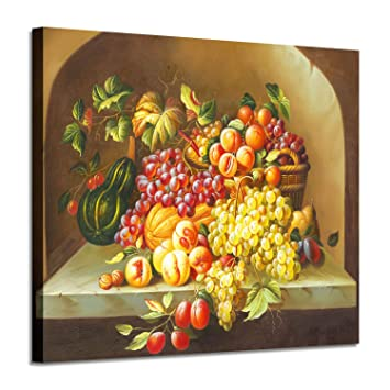 Fruit Artwork Vegetable Canvas Pictures Grapes Peaches Pumpkin Graphic Art For Kitchen Wall