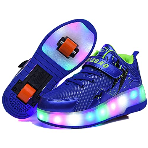 Wasnton Unisex GirlS Boy USB Recargable Skate Roller Unisex Kids LED Doble Ruedas Retráctil Skateboarding Rollerblades