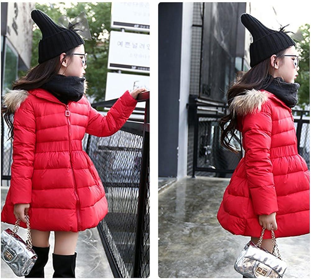 FREE FISHER Girls Down Jacket Winter Sweet Dress Coat Bubble Fur Hooded Puffer Coat Parkas