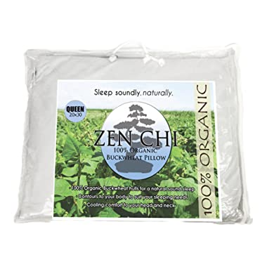 Zen Chi Organic Queen Size Buckwheat Pillow for Sleeping (20 X30 ) w Natural Cooling Technology and All Cotton Cover w Organic Buckwheat Hulls