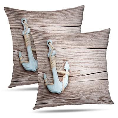Soopat Decorative Pillow Cover Pack of 2, 18 x 18 Inch 2 Sides Printed Girly Nautical Blue Anchor and Wood Look Throw Pillow Cases Decorative Home Decor: Home & Kitchen
