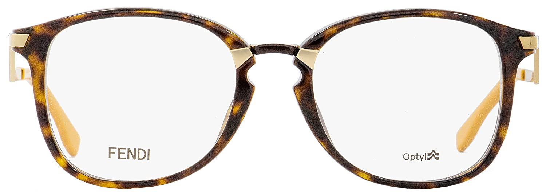 9f651c8918a Amazon.com  Fendi Oval Eyeglasses FF0038 ZCZ Havana Gold Mustard 50mm 038   Clothing