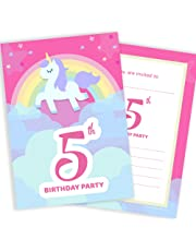 5th Birthday Party Invitations - Unicorn & Rainbow Pink Invites - Ready to Write with Envelopes (Pack 10)