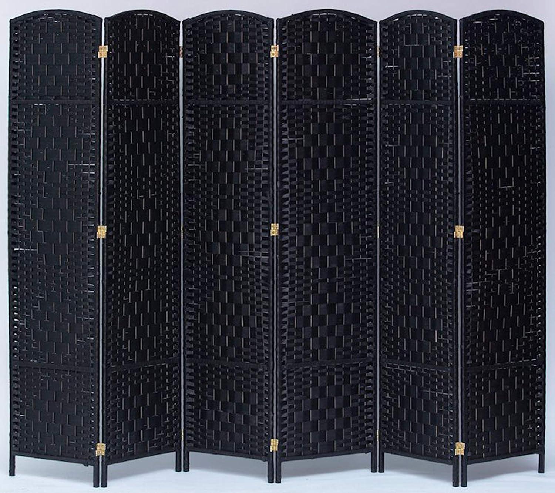 Legacy Decor 3 Panel Diamond Weave Fiber Room Divider Black Color