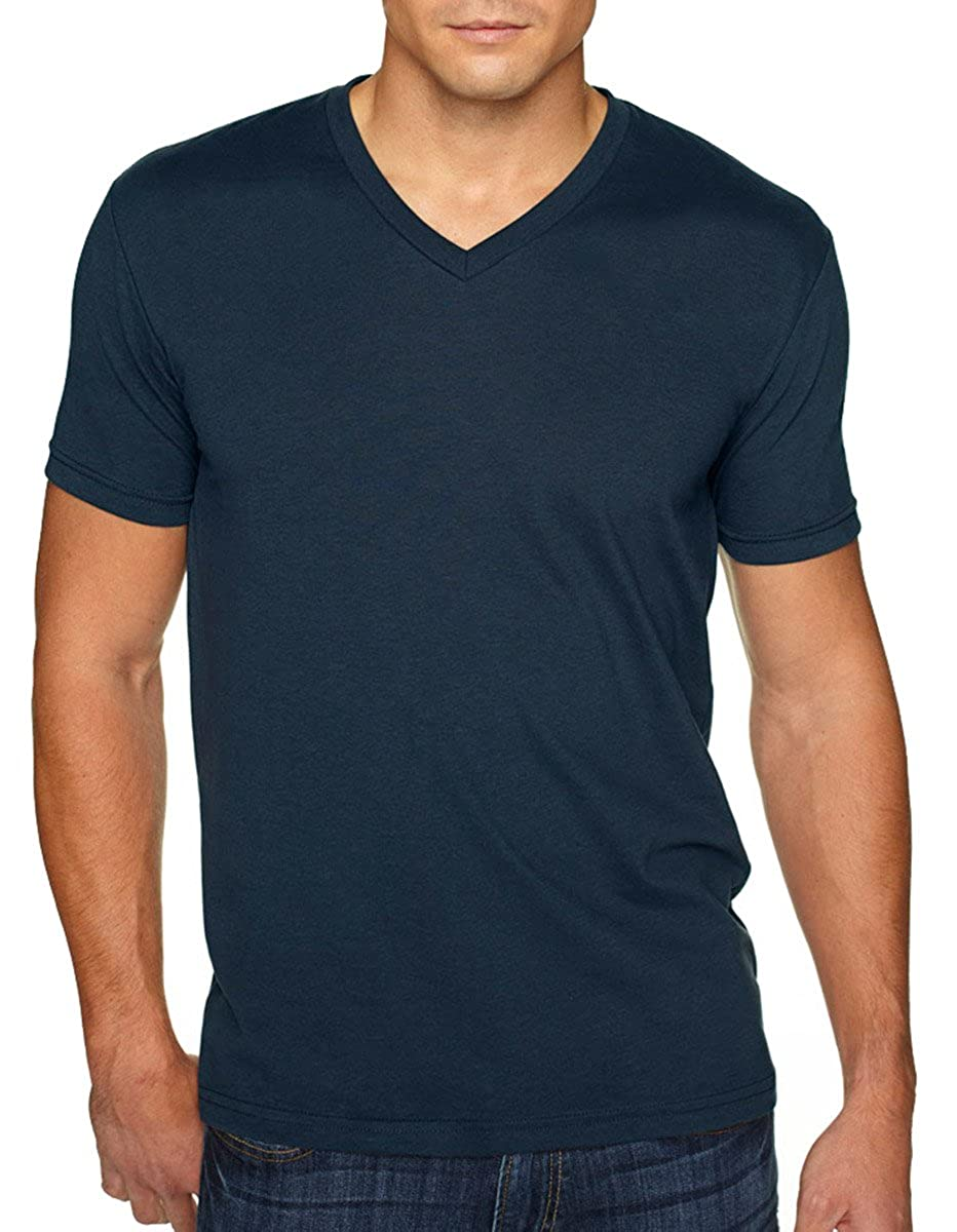 2 Shirts Red Next Level Apparel 6440 Mens Premium Fitted Sueded V-Neck Tee -2 Pack - Large Midnight Navy
