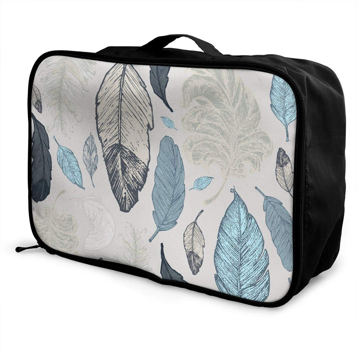Travel Duffel Bag Waterproof Fashion Lightweight Large Capacity Portable Luggage Bag Beatuiful Feathers
