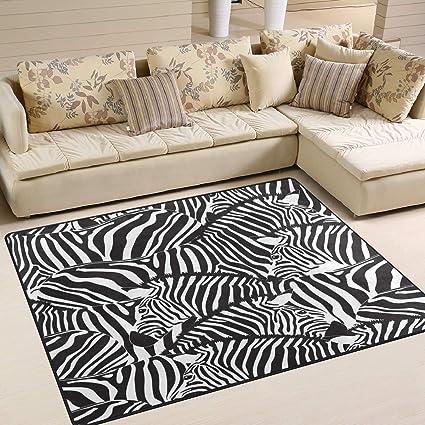 Tapis 63 x 48 Pouces Abstrait zèbre rayé Noir et Blanc pour ...