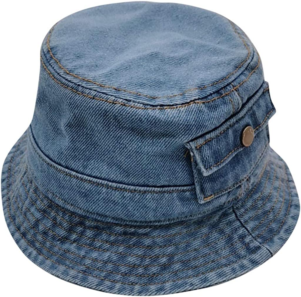 Voberry Baby Hats Denim Bucket Hat for Baby Toddler,Washed Cotton Traveling Beach Sun Protection Cap for Kids