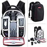 Camera Backpack, Beschoi Waterproof Lightweight DSLR Camera Bag for Canon Nikon Sony DSLR Camera, Speedlite Flash, Tripod, Camera Lens and Accessories, Size 13 x 9.8 x 5.5""