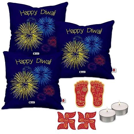 Buy Indi ts Deepavali Decoration Set of 3 Blue Cushion
