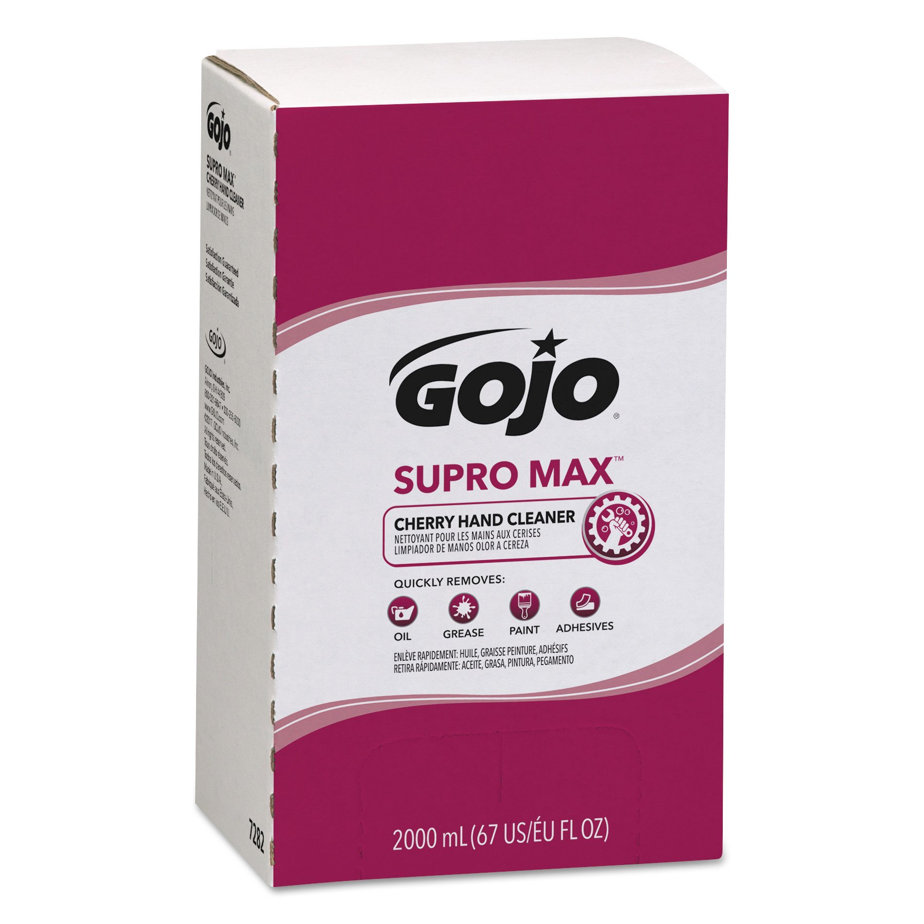 GOJO 7282-04 2000 mL Supro Max Cherry Hand Cleaner, PRO TDX 2000 Refill, (Case of 4),Compatible with Dispenser #7200-01