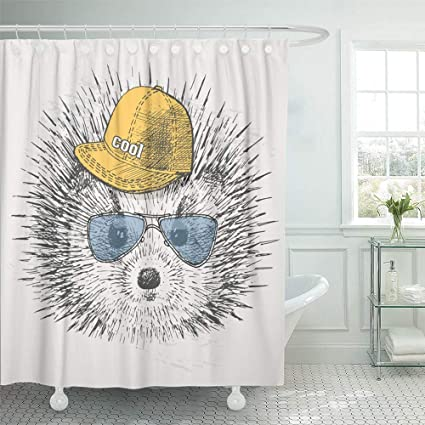 Shower Curtain 72x72 Inch Home Postcard Decor Gray Black Hedgehog In Rapper Cap And Glasses Cool