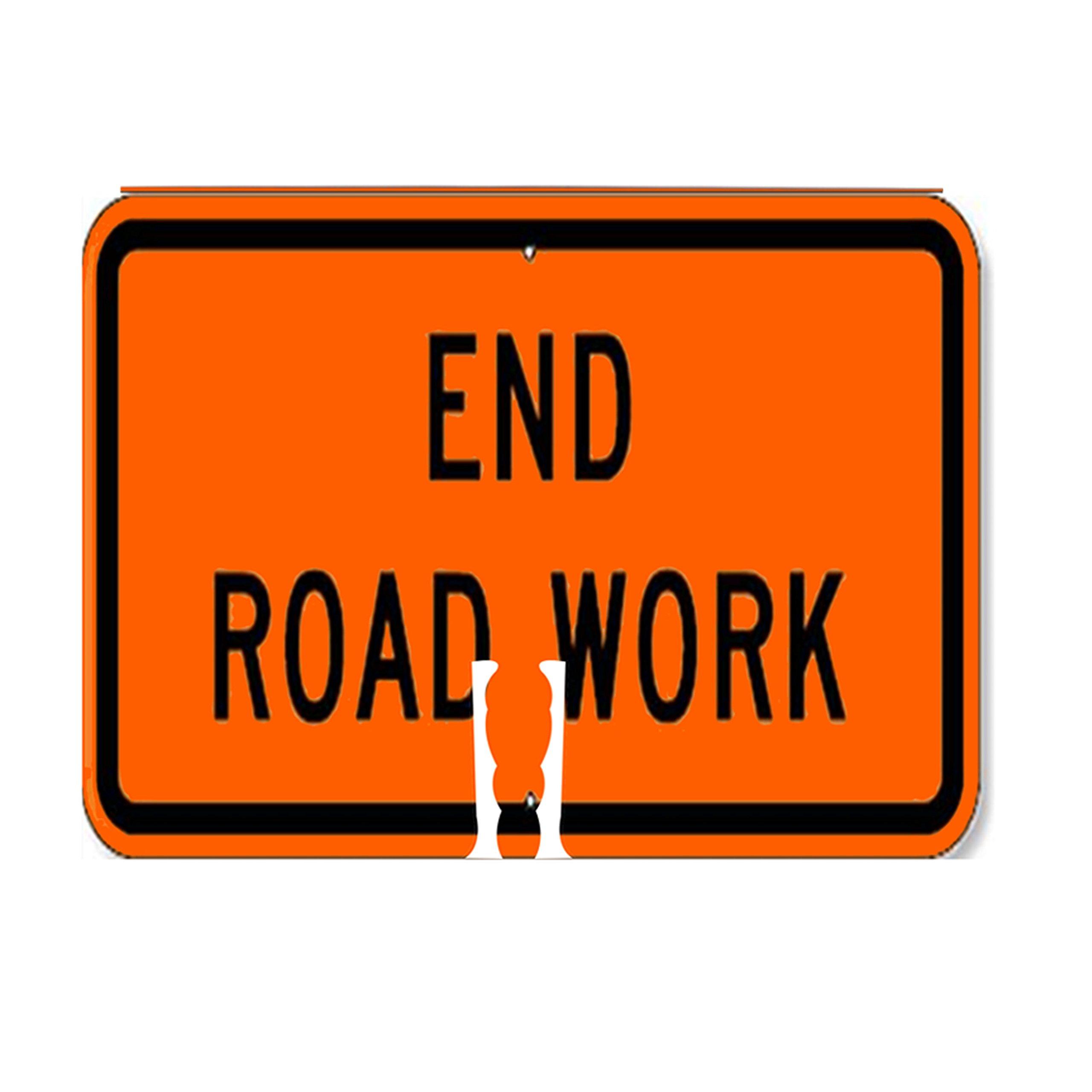RK Traffic Cone Sign 36 Legend ''End Road Work'', 18'' Width x 14'' Height, Black on Orange