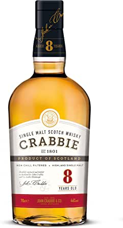 Crabbie 8 Años Highland Single Malt Scotch Whisky 46% - 700 ml: Amazon.es: Alimentación y bebidas