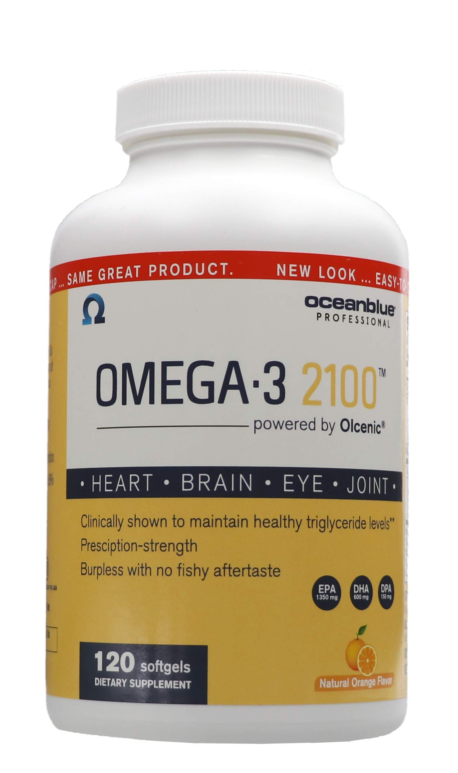 Ocean Blue Omega 3 2100 - Olcenic Blend - 120 Count - Natural Orange Flavor - no Fishy Aftertaste - Heart Health - Cholesterol - Eye and Brain Support - Natural Flavor - Indigestion or Burps