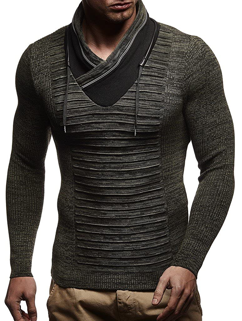 Long-Sleeved Slim fit Shirt Basic Winter Sweatshirt with Shawl Collar for Men LEIF NELSON Men/'s Knitted Pullover