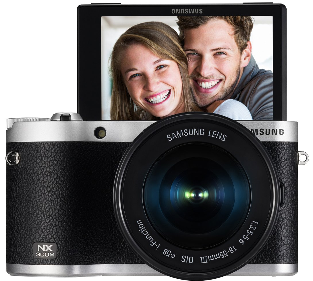 "Samsung NX300M 20.3MP CMOS Smart WiFi & NFC Mirrorless Digital Camera with 18-55mm Lens and 3.3"" AMOLED Touch Screen (Black)"