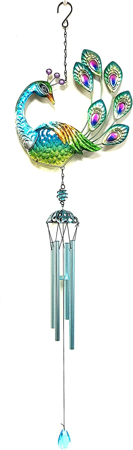 Bejeweled Display Peacock w/ Glass Wind Chime tubes & Home Decor