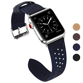 Fullmosa Breeze Correa Cuero, 8 Colores Correa Adecuado para Apple Watch/iWatch Serie 5 4 3 2 1, Hermes, Nike, Edition, 42mm/44mm, Negro
