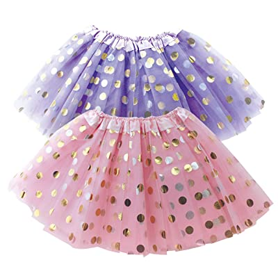 Polka Dot Tutu Skirt for Toddler Girls/Tutu Set Pink Tulle Skirts & Purple Tutus Sets- Girl Dress Up Birthday Party, Halloween Costume: Clothing