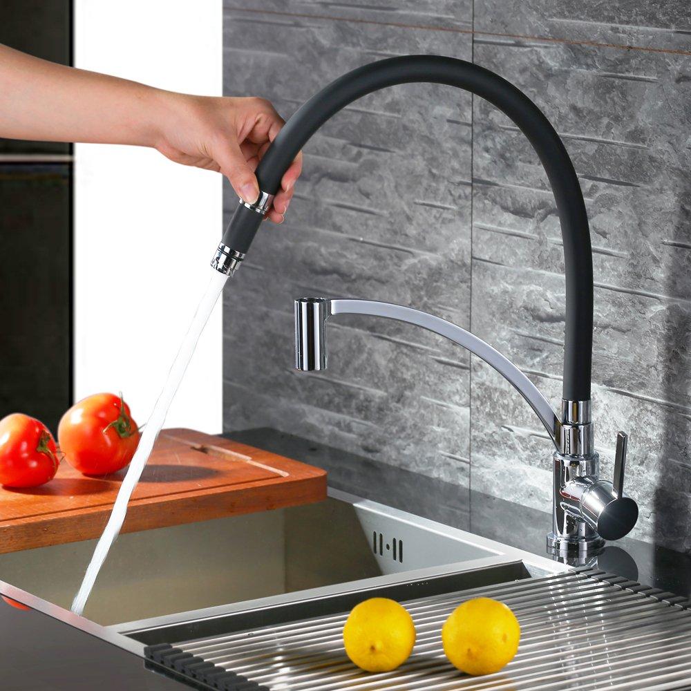 homelody schwarz wasserhahn küche küchenarmatur armatur spüle ... - Mischbatterie Küche Schwarz