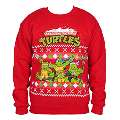 tmnt group red christmas sweater sweatshirt mens sm