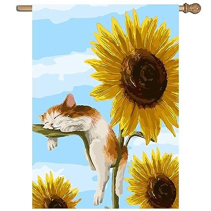 XASFF Cute Kitten Sunflower Garden Flag Holiday Decoration 1 Sided Flag 27  X 37 Inch