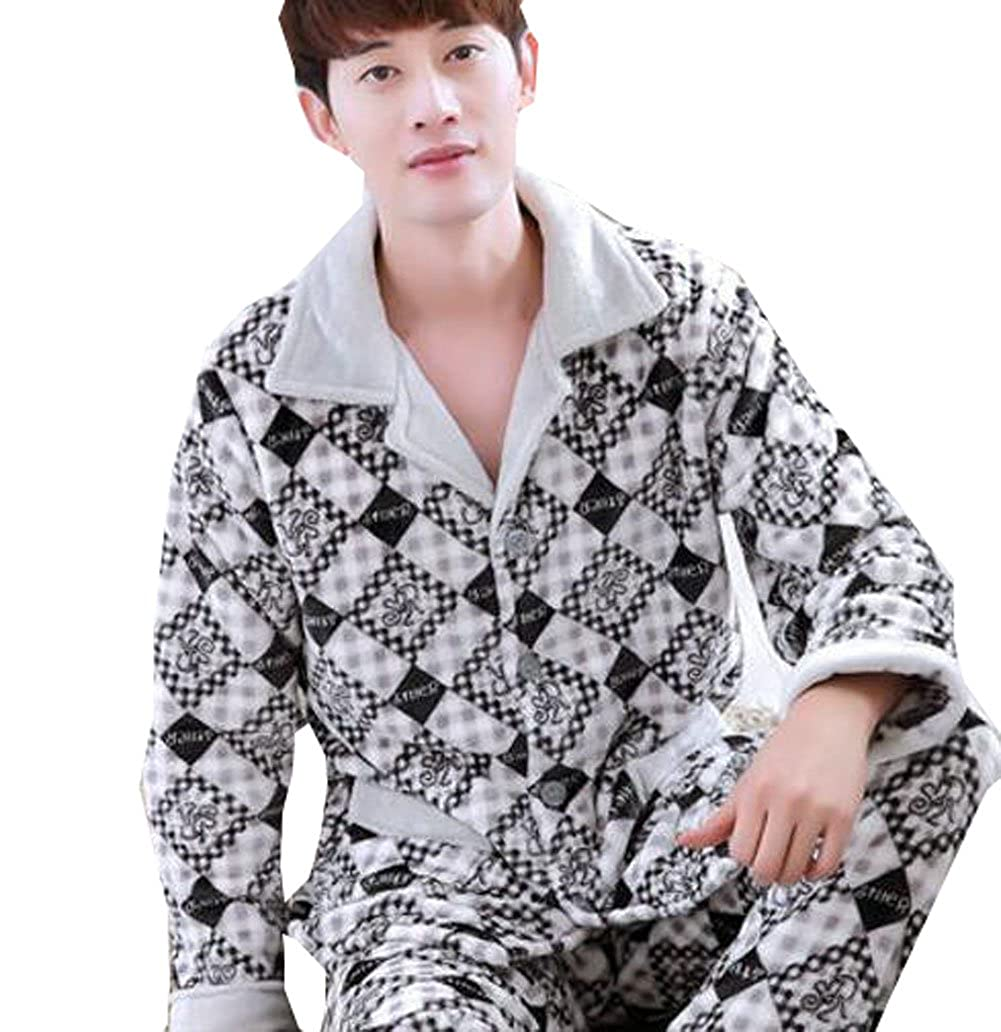 Only Faith Mens Coral Velvet Sleepwear Thickening Pajamas Set