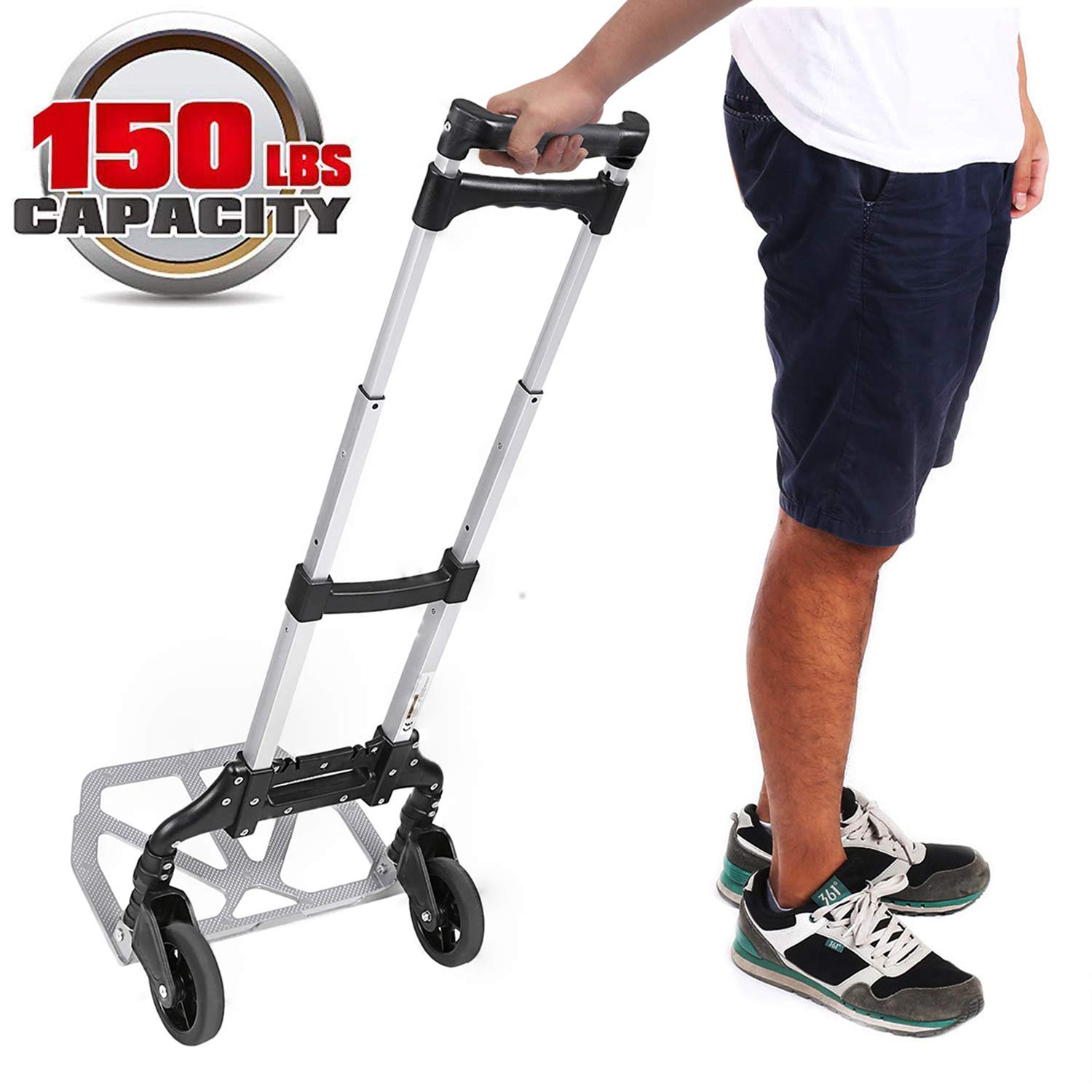 Kemanner Portable Heavy Duty Aluminum Folding Hand Truck and Dolly Two-Wheel Luggage Cart for Personal, Moving, Travel and Shopping Use - Support 150lbs Capacity