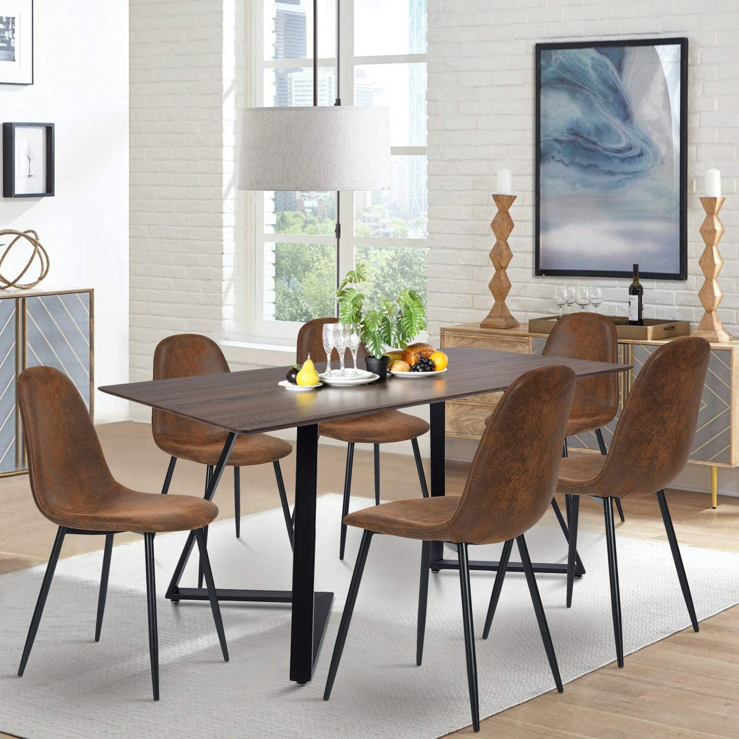 Navy Blue 4 6 People Use 75cm Rectangular Dining Room Table 85 Walnut Brown Color Wooden Top With Black Metal Frame Kitchen Table Size 158 Home Kitchen Furniture