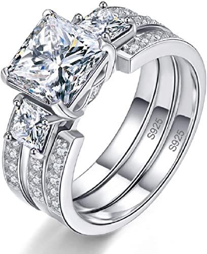 Sterling Silver 5 Ct CZ Cushion Cut Past Present Future Wedding Engagement Ring
