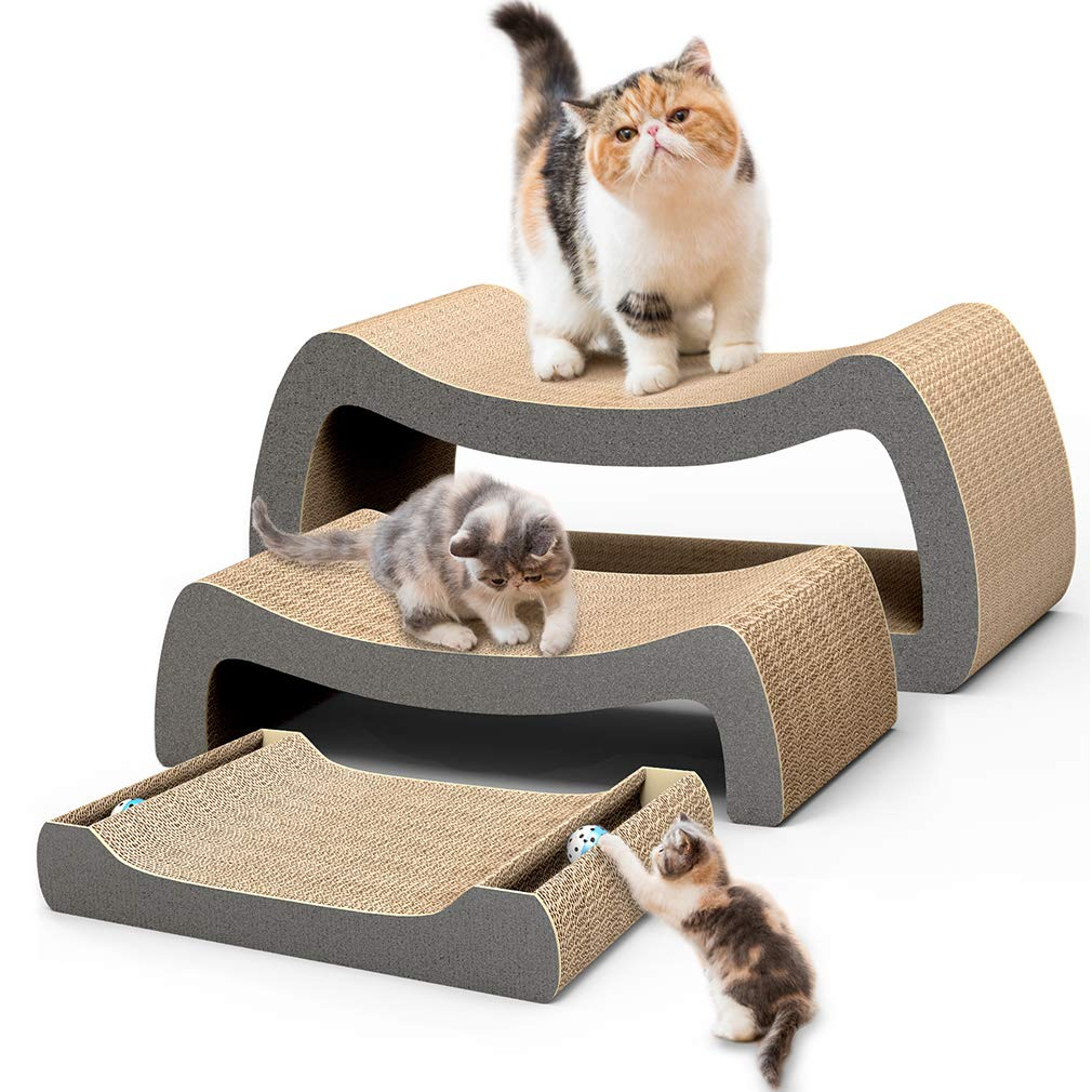 HIPIPET Cat Scratcher Cardboard Cat Scratcher Pad Scratching Posts 3-in-1 Lounge Bed for Large Cats and Little Kitten by HIPIPET (Image #1)