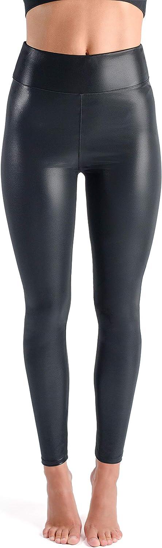 looksy Peigile by Leggings Noirs pour Femmes en Cuir Imitation Taille Haute Pantalon Extensible pour Femmes Faux