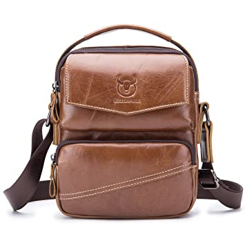 0db26ba84b5d BULL CAPTAIN Small Messenger Bag for Iphone 7 Plus Real Leather Casual  Multi-pocket Purse Handbag Crossbody Bags ZB-040 (Brown)