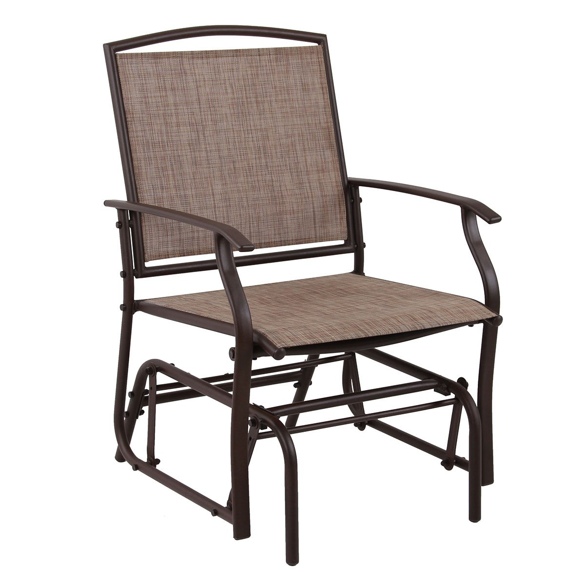 PHI VILLA Patio Glider Chair Outdoor Rocking Chair, Textilene Mesh Steel Frame,Brown