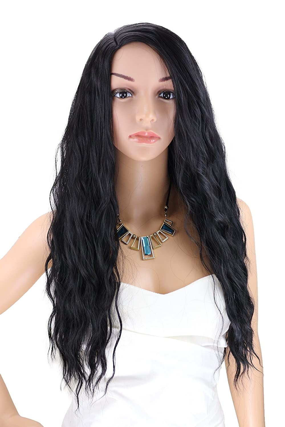 Amazon.com   Kalyss Women s wig Long Curly Wavy Premium Heat Friendly Right  Side Parting Synthetic Hair wig (black)   Beauty 9af2ff0343
