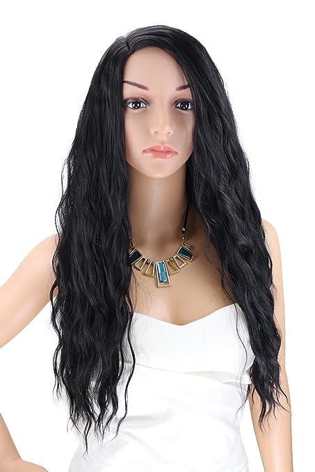 kalyss Fibra Kanekalon peluca larga de tejido negro sintético resistente al calor para las mujeres