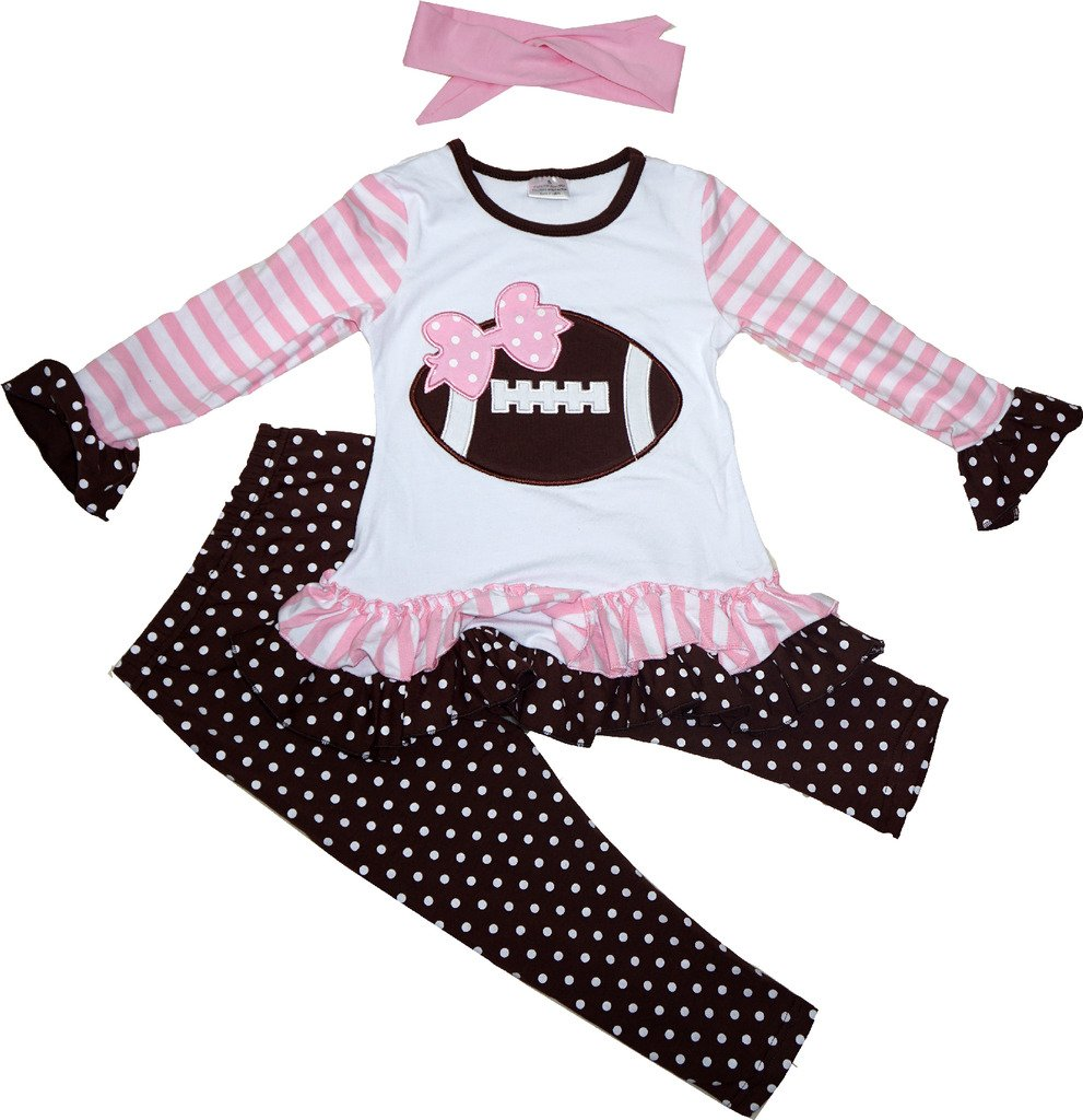 Autumn Fall Boutique Clothing Girls Game Day Football Ruffles Tunic Leggings Set 3T