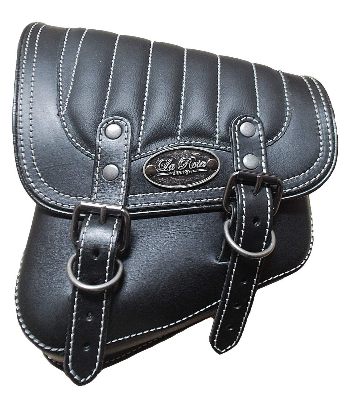 623a02f6cd49 Amazon.com  La Rosa Harley-Davidson All Softail Models Left Side Solo  Saddle Bag Swingarm Bag Black w White Thread Tuk n Roll  Automotive